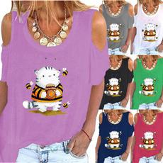 Tops & Tees, fashion women, Plus Size, Graphic T-Shirt