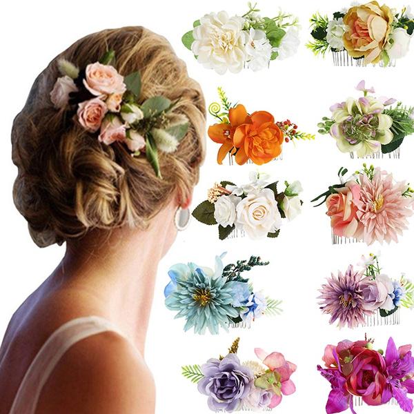 Flowers, bridalflowerhaircomb, headwear, Women's Fashion