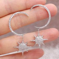 moonandstarearring, Dangle Earring, Jewelry, gold