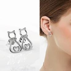 Sterling, Heart, DIAMOND, Stud Earring