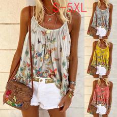 butterflyprint, Summer, Vest, Plus Size