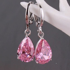 Sterling, pink, Hoop Earring, 925 sterling silver