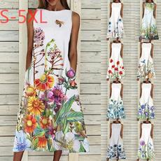Summer, Flowers, Oversize, long dress