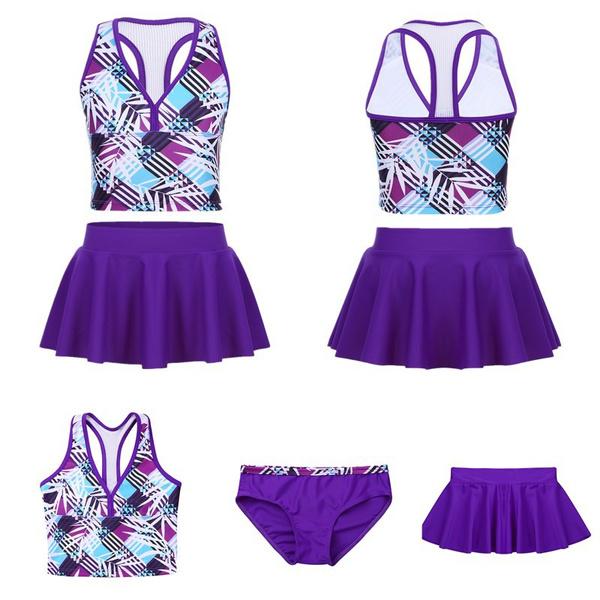softcomfortable, 3pcsswimwearsuit, Elastic, kidsgirlstankinioutfit