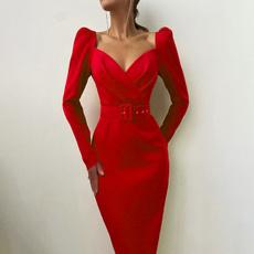 pencil, dress slim, Long Sleeve, Dress