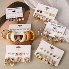 Hoop Earring, punk earring, Pearl Earrings, pearls