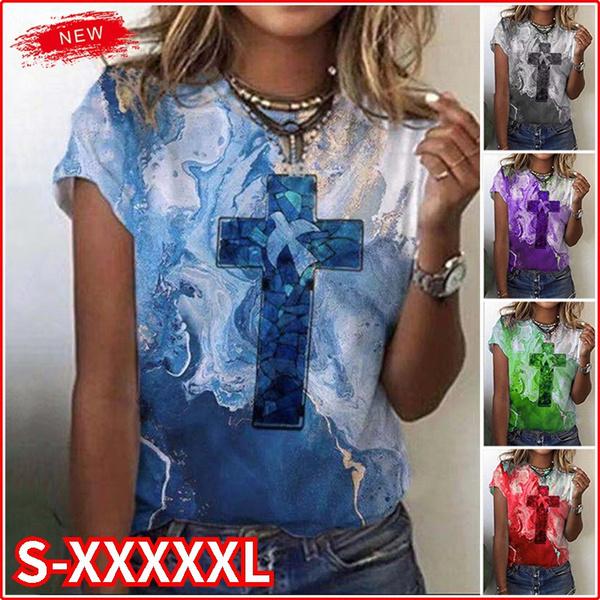 Summer, Plus Size, Shirt, Cross