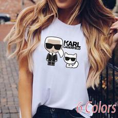 Summer, karllagerfeldshirt, womens top, Graphic T-Shirt