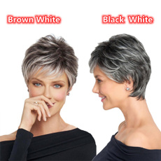 wig, elderlywomen, Shorts, brown