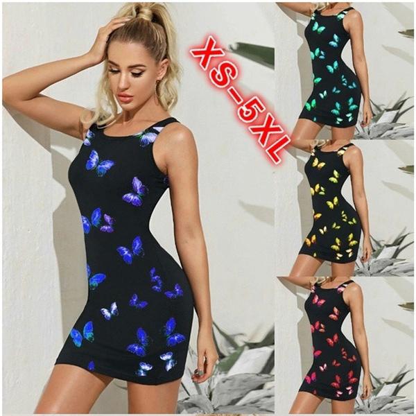 butterfly, Mini, Plus Size, Dress