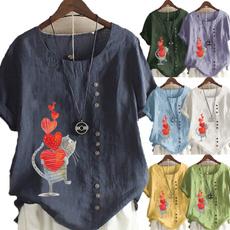 Summer, Plus Size, Women Blouse, summer t-shirts