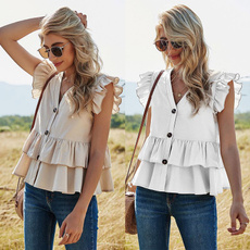 blouse, fashion women, khaki, ruffle