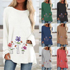 Plus Size, Graphic T-Shirt, Women Blouse, Long Sleeve
