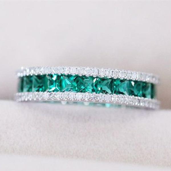 Wedding, DIAMOND, 925 sterling silver, emeraldring