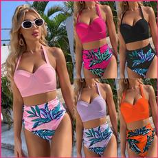 Fashion, leaf, high waist, Swimwear