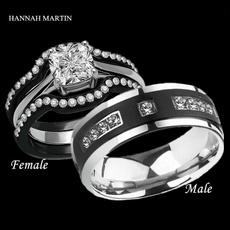 Couple Rings, Steel, Engagement Wedding Ring Set, wedding ring