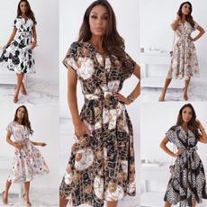 Summer, dressesforwomen, Floral, long sleeve dress