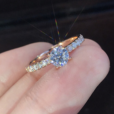 DIAMOND, wedding ring, 925 silver rings, Bride