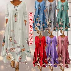 dressesforwomen, print dress, Long Sleeve, plus size dress