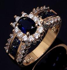Blues, yellow gold, wedding ring, Blue Sapphire