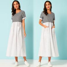 slim dress, short sleeve dress, Necks, long dress