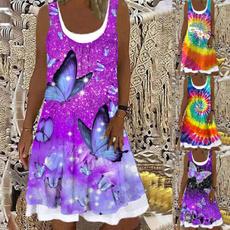 butterfly, Summer, Plus Size, Dress