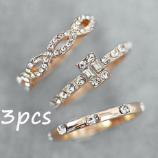 goldplated, Engagement Wedding Ring Set, Jewelry, gold