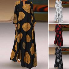 Cotton, dressesforwomen, printed, Necks