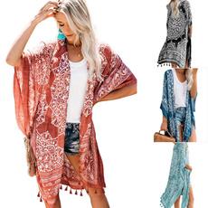 Fashion, Floral print, cardigan, beach coverup