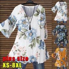 Summer, fashion women, Plus Size, Floral print
