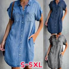 denim dress, Blues, Shorts, Shirt