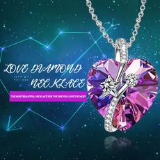 Sterling, amethystnecklace, crystal pendant, Fashion