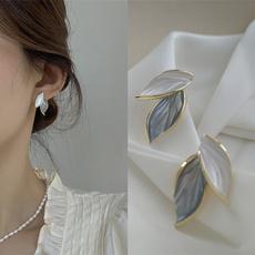 Fashion, leaf, Beautiful Earrings, Pearl Earrings