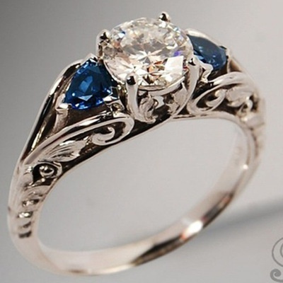Antique, Sterling, DIAMOND, Engagement Ring