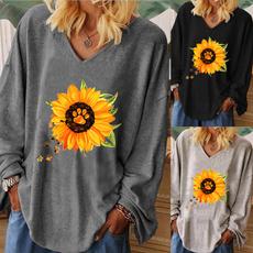 Plus Size, Long Sleeve, V-neck, Autumn Shirts