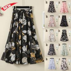 long skirt, Fashion, looseskirt, chiffon