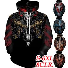 Men's Hoodies & Sweatshirts, skull, dragonhoodie, Flying