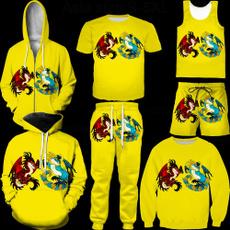 Vest, Shorts, Yellow, dragon