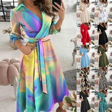 Summer, Plus Size, chiffon dress, Long sleeved