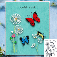 butterfly, Flowers, paintingtool, rubberstamp