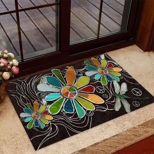doormat, Flowers, velvet, hippie