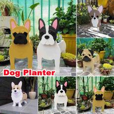 cute, Plants, Garden, woodendogplanter