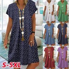 Summer, Plus Size, long dress, polka dot