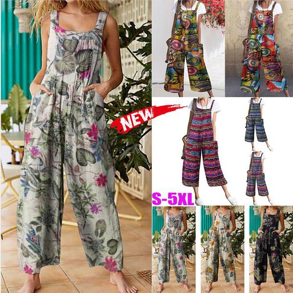suspenders, Plus Size, Floral print, pants