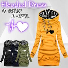 slim dress, hooded, sweater dress, longsleeveddresse