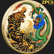Tiger, collectiblecoin, Chinese, gold