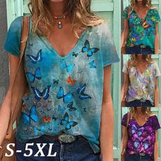butterflyprint, Summer, Plus Size, short sleeves