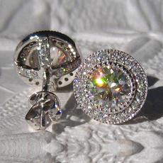 Sterling, DIAMOND, moissanite earrings, vintage earrings