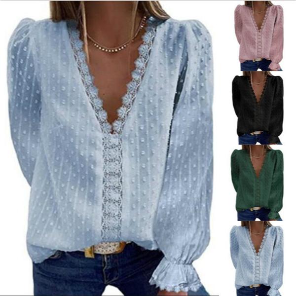 blouse, Deep V-Neck, Plus Size, Lace