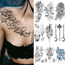 butterfly, Body, Flowers, art